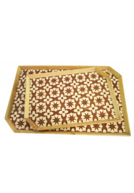 Set of 2 Trays Mosaic Brown