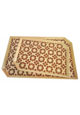 Set of 2 Trays Mosaic Light Brown