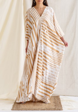 Striped Kaftan with Buttons