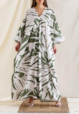 Feather Trim Green/ White