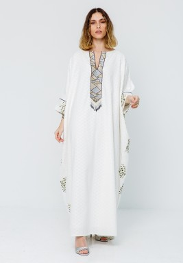 White Printed Back Open Sleeves Kaftan