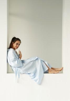 Reverse Pinstripe Kimono Robe