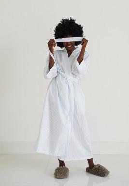 White & Blue Pinstripe Kimono Robe
