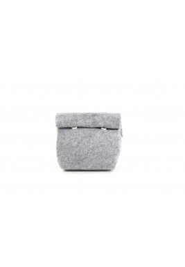 Grey felt Mini wrap pouch
