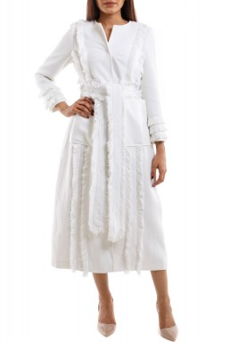 White Tweed Tasseled Coat