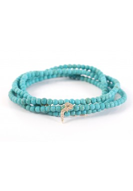 MIM Diamond and Gold Turquoise Pearls Bracelet