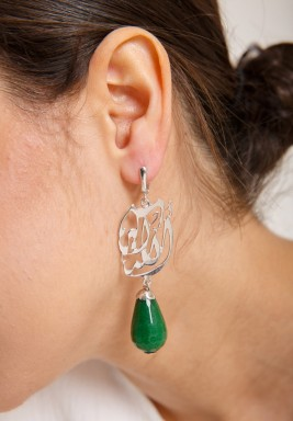 Green silver faceted jade