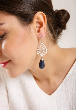 Midnight Blue Silver Faceted Jade Earrings