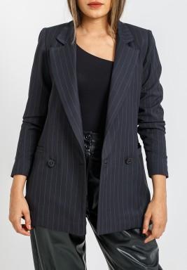 Black Striped Crepe Blazer