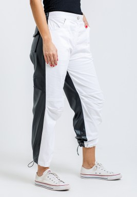Leather & Denim Mix Hybrid Wide Leg Pants