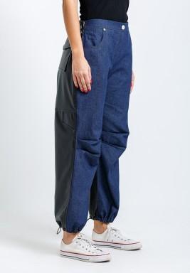 Dark Blue Mixed Hybrid Wide Leg Pants