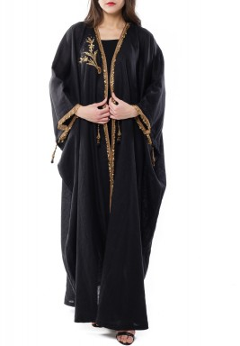 Black Sirma Embroidered Linen Kaftan