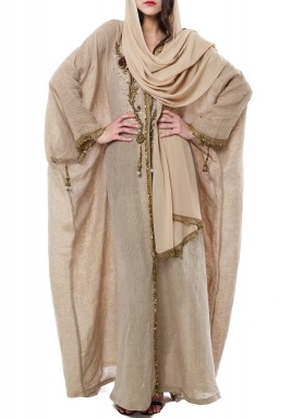 Beige Sirma Embroidered Linen Kaftan
