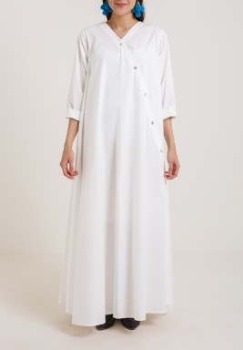 Side Button White kaftan