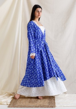 Blue & White Tie-Front Kaftan