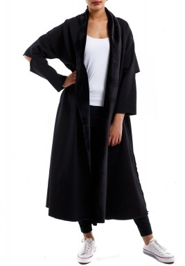 Elbow cut sleeve Cloche Bisht Black