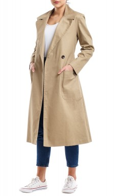 Light Beige Long Sleeves Coat