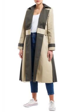 Beige & Olive Pleated Coat