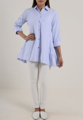 Back ruffle Shirt Blue