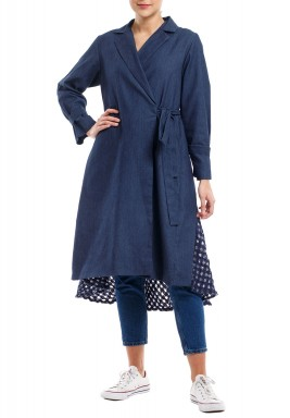 Wrap Jeans Patterned Coat Dress