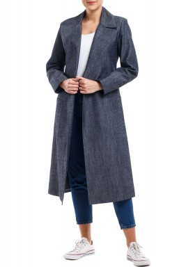 Light Denim Long Sleeves Coat