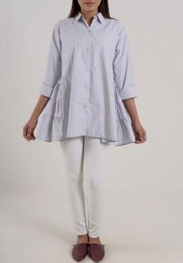 Back ruffle Shirt Grey