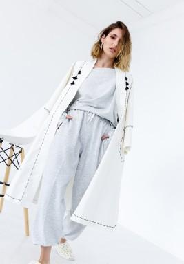 White Stitched Midi Bisht