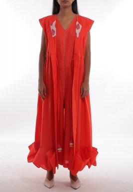 Red Jumpsuit & Vest Set