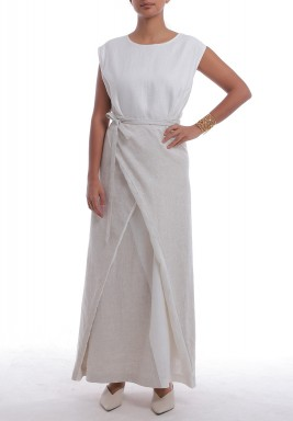 White & Sand Wrap Maxi Dress
