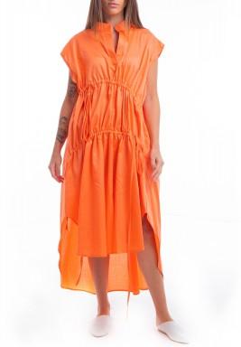 Orange Drawstring Shirt Dress