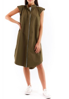 Olive pleats dress with pocket