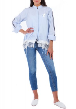 Blue Lace Hem High Neck Shirt