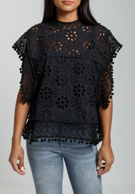Black High Neck Lace-trimmed Cotton Top