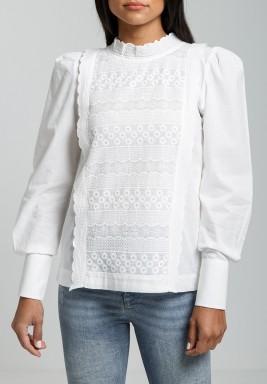 White Trimmed High-Neck Blouse