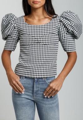 Printed Puffed Sleeve Crop Top