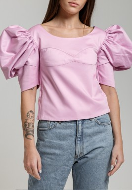 Pink Puffed Sleeve Crop Top