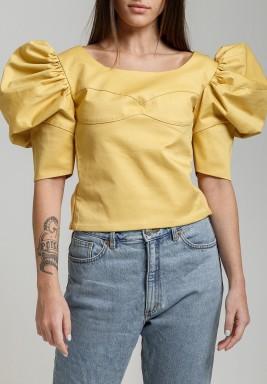 Yellow Puffed Sleeve Crop Top