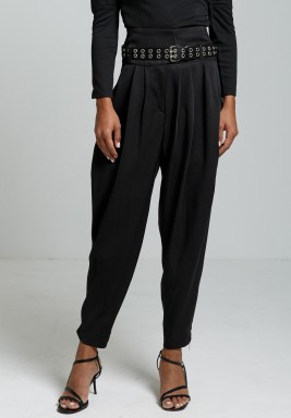 Black Cropped Belted Wool-Twill Tapered Pants