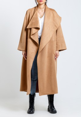 Camel Oversized Chamois Blend Shawl Coat