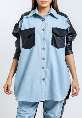Leather & Denim Mix Hybrid Wide Cut Shirt