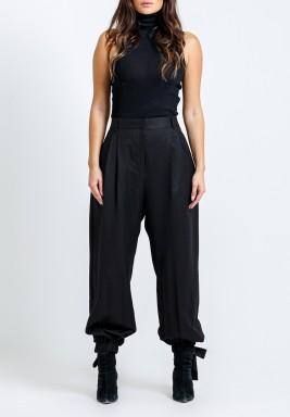 Black Wide-Legged Tie Cuffs Pants