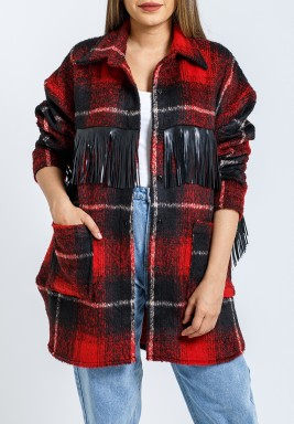 Red Checked Leather Tassels Shirt Jacket