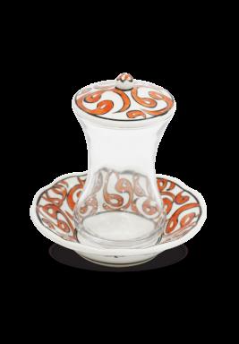 HandMade Tea Cup/Istikana With Saucer And Cover 6 Pieces Set-Orange