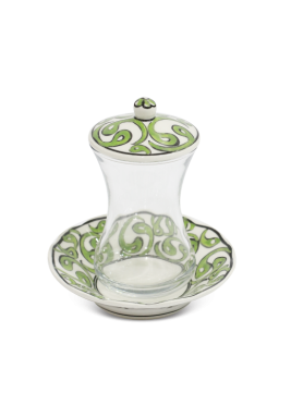 HandMade Tea Cup/Istikana With Saucer And Cover 6 Pieces Set-Light Green