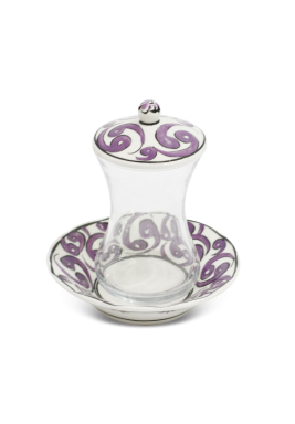 HandMade Tea Cup/Istikana With Saucer And Cover 6 Pieces Set-Purple