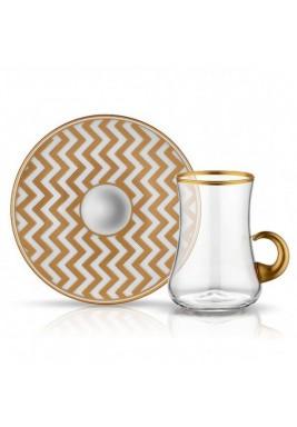Koleksiyon Tea Cup/Istikana With Porcelain Saucer 6 Pieces Set-Print 3