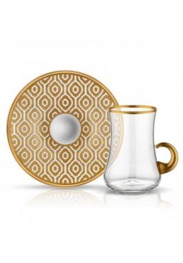 Koleksiyon Tea Cup/Istikana With Porcelain Saucer 6 Pieces Set-Print 5