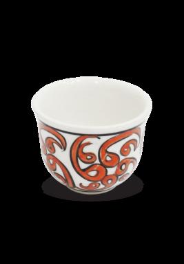 Handmade Porcelain Arabic Coffee cup, 6 Pieces Set - Orange