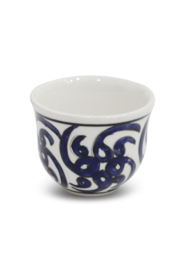 Handmade Porcelain Arabic Coffee cup, 6 Pieces Set - Blue