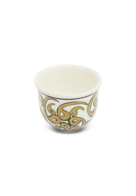 Hand made Porcelain Arabic Coffee Cup,6 Pieces Set-Yellow